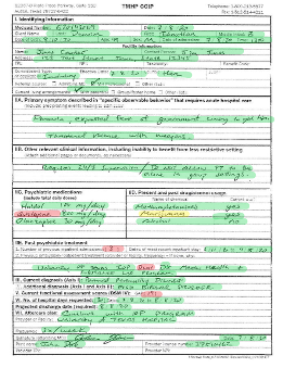 Image shows a copy of the previous handwritten form with specific fields highlighted