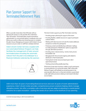 Plan Sponsor Support for Terminated Retirement Plans