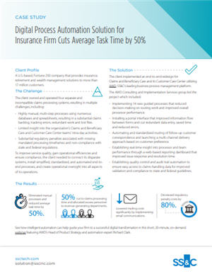 Digital Process Automation Solution for Insurance Firm Cuts Average Task Time by 50%
