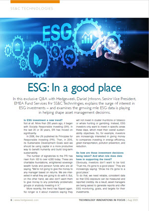 Q&A with Hedgeweek - ESG: In a Good Place