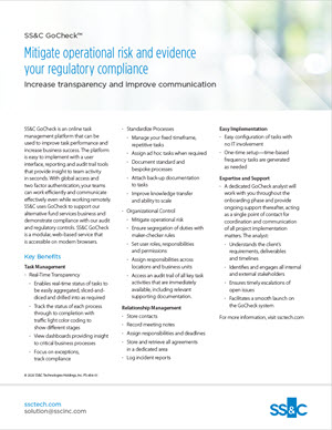 SS&C GoCheck™: Mitigate Operational Risk and Evidence Your Regulatory Compliance