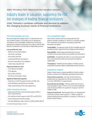 Industry Leader in Valuation Supporting the FDIC Bid Strategies