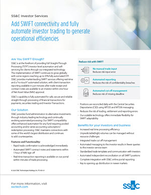 Add SWIFT connectivity and fully automate investor trading to generate operational efficiencies