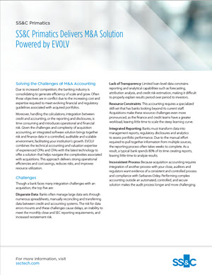 SS&C Primatics Delivers M&A Solution Powered by EVOLV