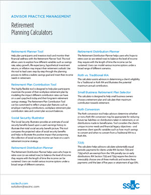 Advisor practice management - retirement planning calculators