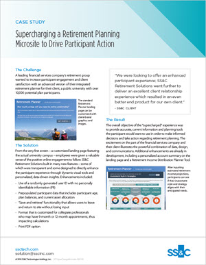 Supercharging a retirement planning microsite to drive participant action