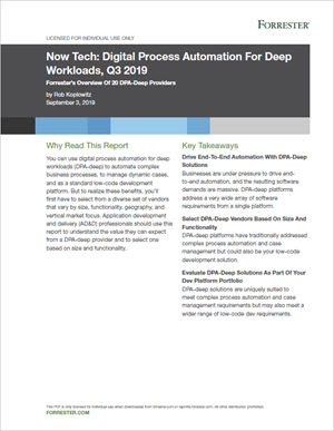 The Top 20 Digital Process Automation Providers: The Forrester Report