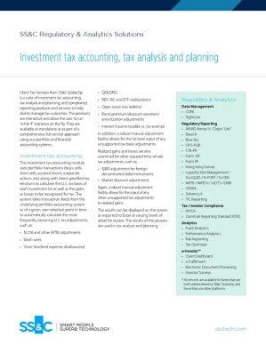 Investment tax accounting, tax analysis and planning