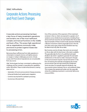 Corporate Actions Processing and Post Event Changes