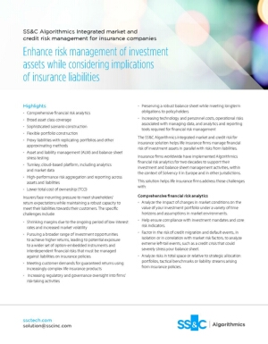 SS&C Algorithmics Integrated Market and Credit Risk Management for Insurance Companies