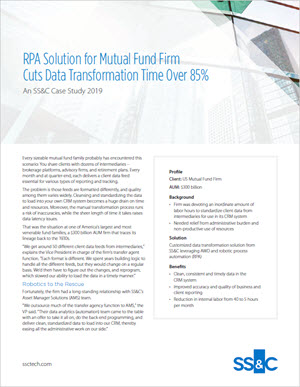 RPA Solution for Mutual Fund Firm Cuts Data Transformation Time Over 85%