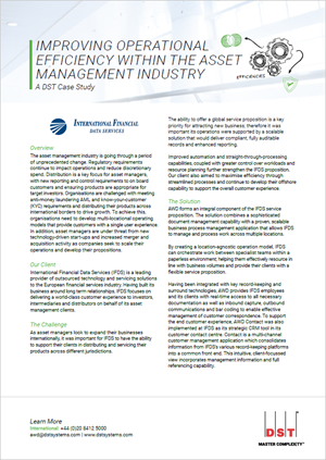 Improving operational efficiency within the asset management industry