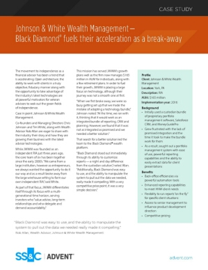 Johnson & White Wealth Management— Black Diamond® fuels their acceleration as a break-away