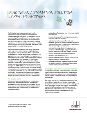 Finding an automation solution - is RPA the answer?